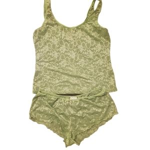 Tank and boy short lingerie- size L - green